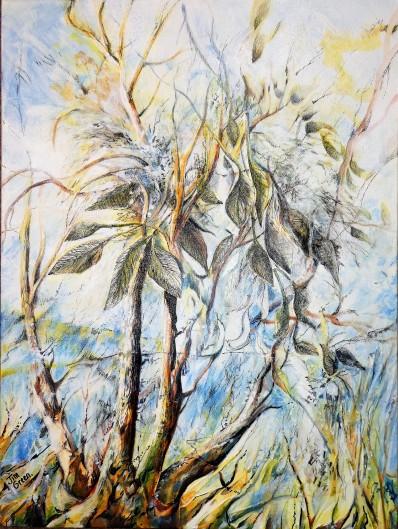 'Petrified Tree', Mixed media on canvas. 400 x 600 mm, SOLD